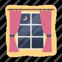 comfort, curtains, night, rest, sleep, window icon