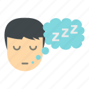 boy, male, night, sleep, thought, tired, z icon