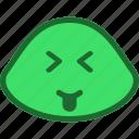 emoji, emoticon, slime, squinting icon