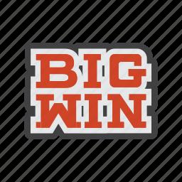 achievement, big, big hit, big win, slots, triumph, win icon