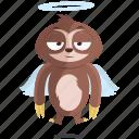emoji, emoticon, angel, sloth, smiley, sticker icon