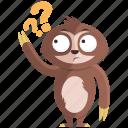 emoji, emoticon, question, sloth, smiley, sticker, wonder icon
