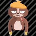 emoji, emoticon, sick, sloth, smiley, sticker