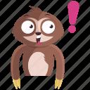 emoji, emoticon, exclaimation, sloth, smiley, sticker, surprise icon