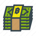 bill, bills, bitcoin, currency, money, stack icon