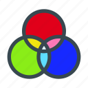 filters, rgb, wheel, intersection, circles, color icon