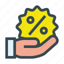 discount, hand, loan, offer, promotion, sale icon