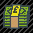 bill, bills, currency, money, pound, stack icon
