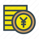 coin, coins, currency, stack, yen