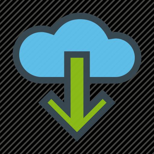 cloud, down, download, server, storage icon