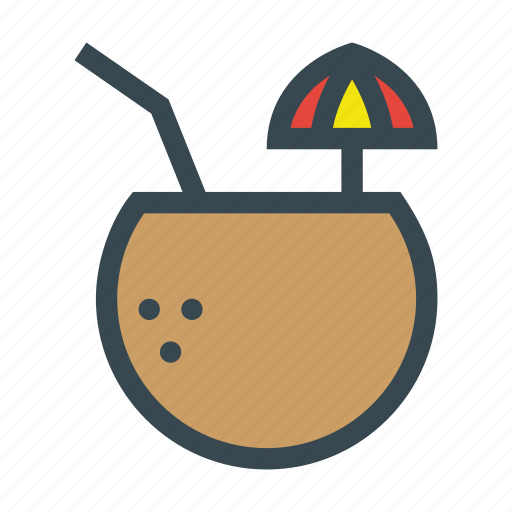 alcohol, cocktail, coconut, drink, tropical icon