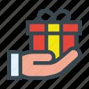 birthday, box, gift, give, hand, present icon