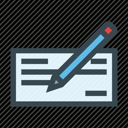 check, checkbook, demand, document, draft, paper, pencil icon
