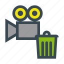 bin, file, film, movie, recycle, send, video icon