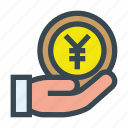 aid, charity, coin, contribution, donate, donation, yen icon