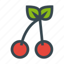 cherry, fruit, leafs, sweet icon
