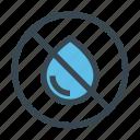 drop, dry, forbidden, no, water, wet