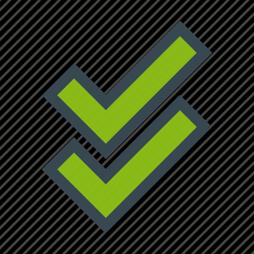 accept, check, comunication, double, mark, read icon