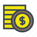 coin, coins, currency, money, stack icon