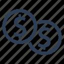 currency, dollar, dollar coins, finance, money