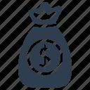 bag, cash, dollar, finance, money bag, stack icon