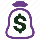 bank, currency, fees, finance, investment, loan, money bag icon