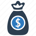 cash, dollar, money, money bag icon