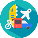 bus, car, integration, multimodel, plane, transpotation, vehicle icon