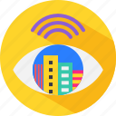 city, buildings, eye, watch, automation, automatic, smart icon
