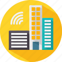 building, city, developement, construction, automated, automatic, smart icon