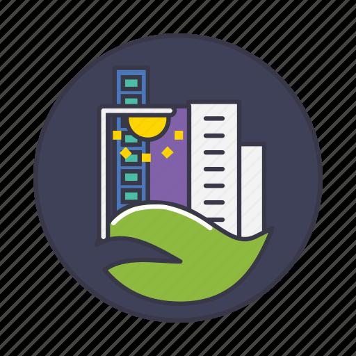 building, city, development, energy, green, light, smart icon