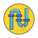 broke, city, leakage, smart, treatment, waste, water icon