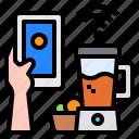 blender, smartphone, mobile, hand, technology, control, internet