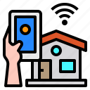 house, smartphone, mobile, hand, technology, control, internet