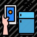 refrigerator, smartphone, mobile, hand, technology, control, internet