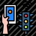 traffic, light, mobile, hand, technology, control, internet