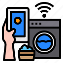 wash, smartphone, mobile, hand, technology, control, internet