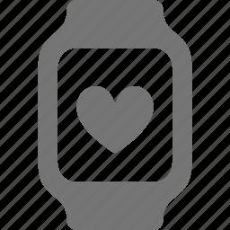 heart, like, smart watch, watch icon
