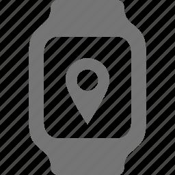 location, smart watch, watch icon