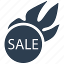 fire, flame, hot, popular, sale, shopping, sticker icon