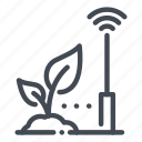 farm, farming, network, plant, signal, smart, technology icon