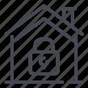 home, house, lock, padlock, password, security, smart icon