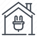 building, electric, electricity, home, house, plug, smart icon