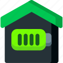 battery, electricity, full, home, house, power, smart icon