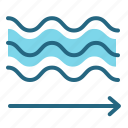 air conditioner, current, flow, waves icon