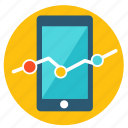 analytics, business, chart, connection, finance, graph, smartphone icon