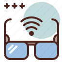 detective, glasses, invisible, wifi icon