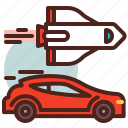 car, fly, rocket, speed icon