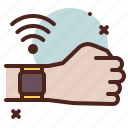 clock, hand, smartwatch, wifi icon
