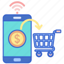 cart, mobile, payment icon